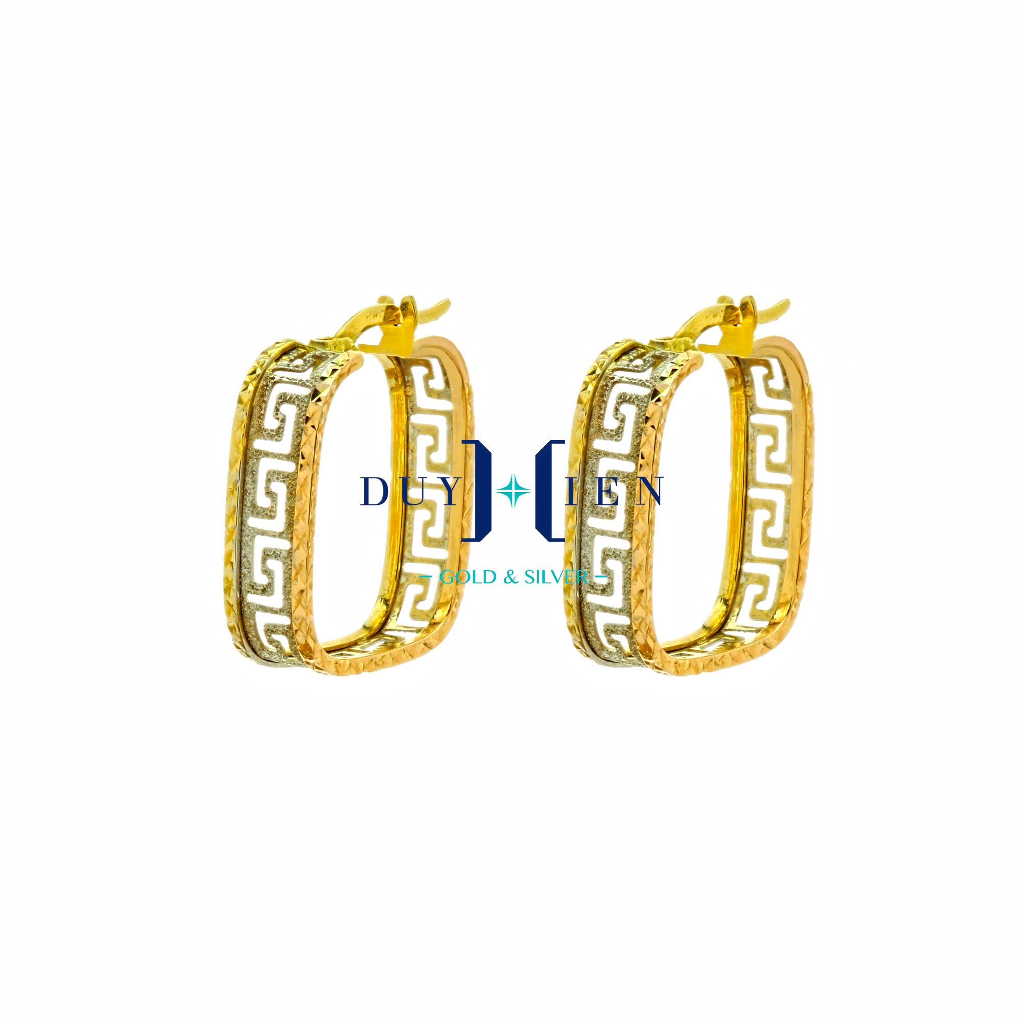 bông tai nữ vàng 18k hình viền vuông trơn ở giữa là các chữ L xếp đôi ngược nhau tạo kiểu đẹp