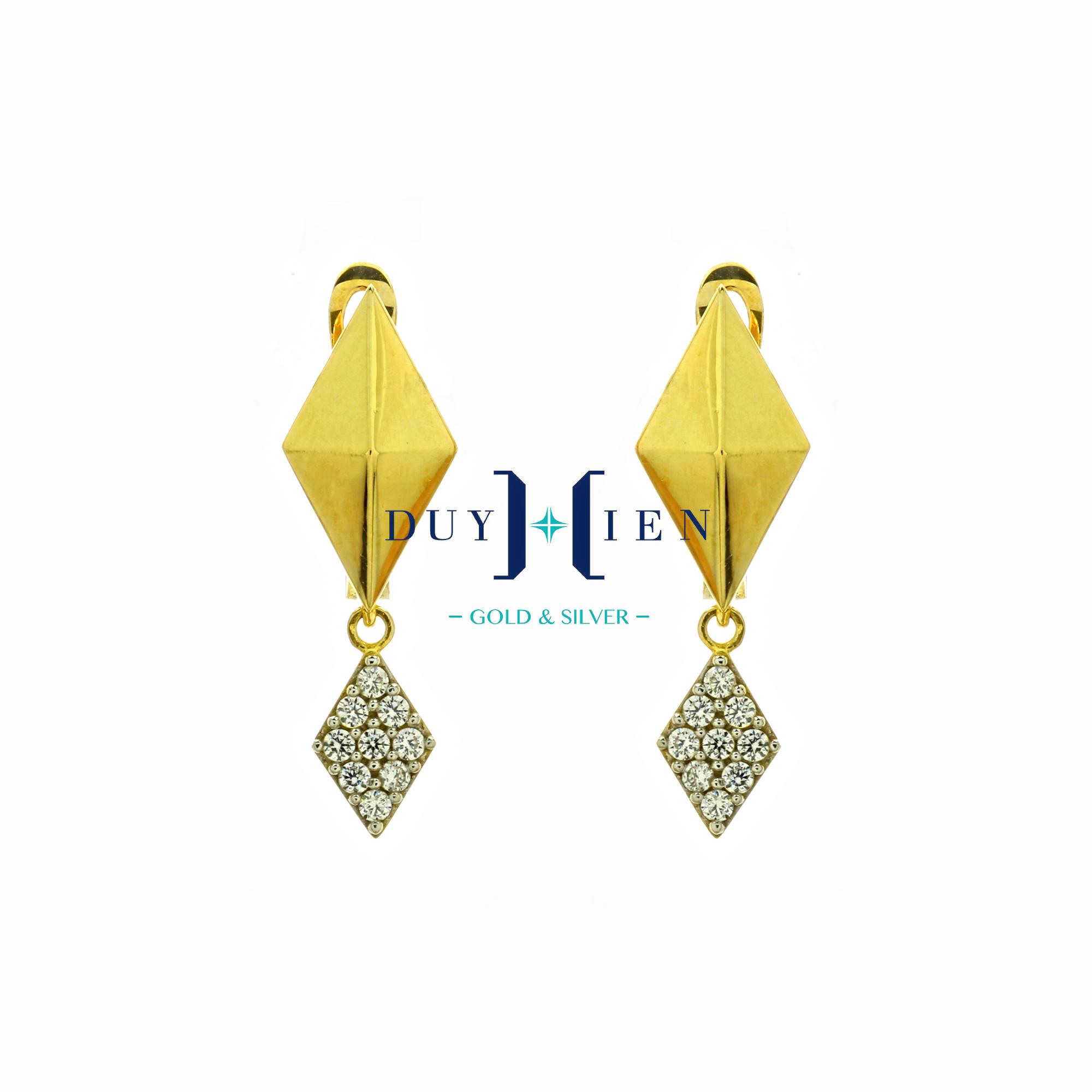bông tai vàng 18k cho nữ  hình thoi trơn màu vàng nổi tấm ở giữa nói với hình thoi nhỏ có đá