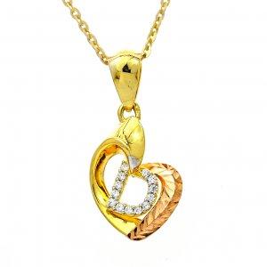 mặt dây chuyền nữ vàng ý loại mặt dây chuyền vàng hình trái tim cong và bên trong có chữ D nhỏ có đá trắng
