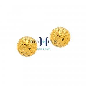 bông tai nữ vàng 18k hình tròn màu vàng trơn làm kiểu giấy nhăn