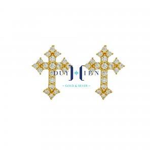 bông tai thánh giá có đá trải dài hết hình thánh giá đẹp