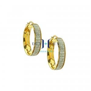 bông tai vàng 18k đẹp hình tròn có viền vàng ở giữa làm kiểu xi cát trắng đẹp