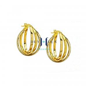 bông tai vàng 18k giá rẻ có ba đường thẳng vắt chéo nhau tạo thành hình tròn đẹp