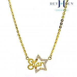 dây chuyền vàng nữ 10k kiểu dây liền mặt có dây xích O và mặt hình ngôi sao có đá gắn thêm chứ Star trơn đẹp